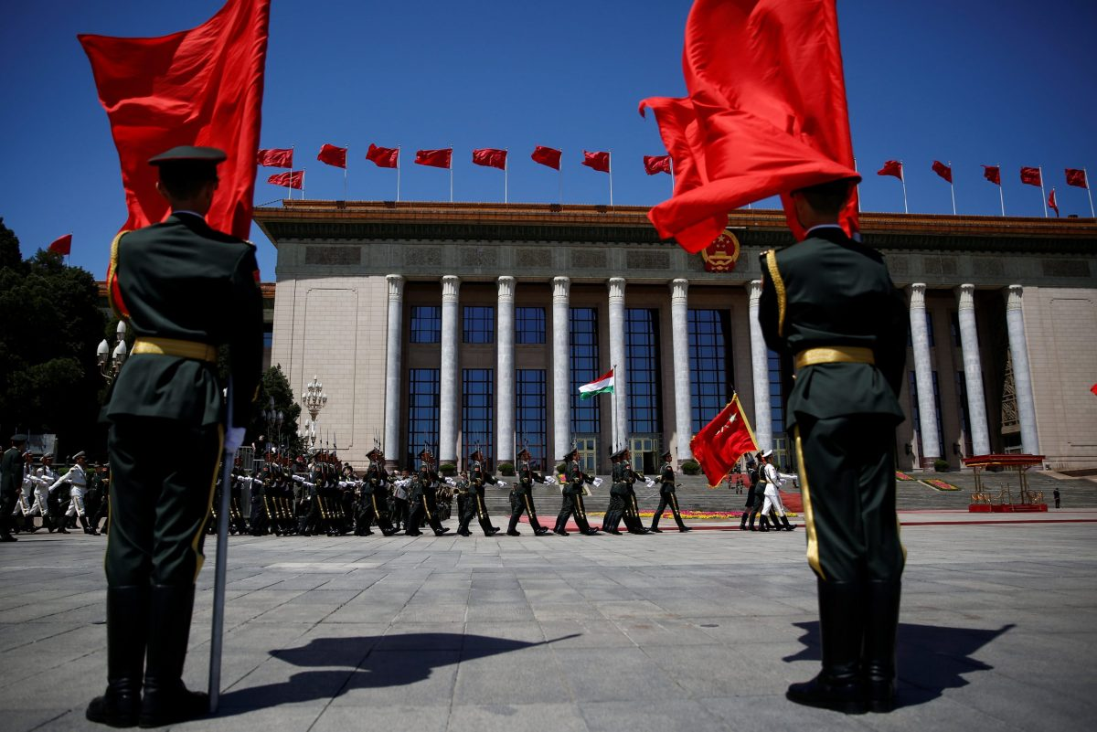 Honour guards march before a welcoming ceremony ahead of the Belt and Road forum at the Great Hall of the People in Beijing, China, on May 13. Photo: Reuters