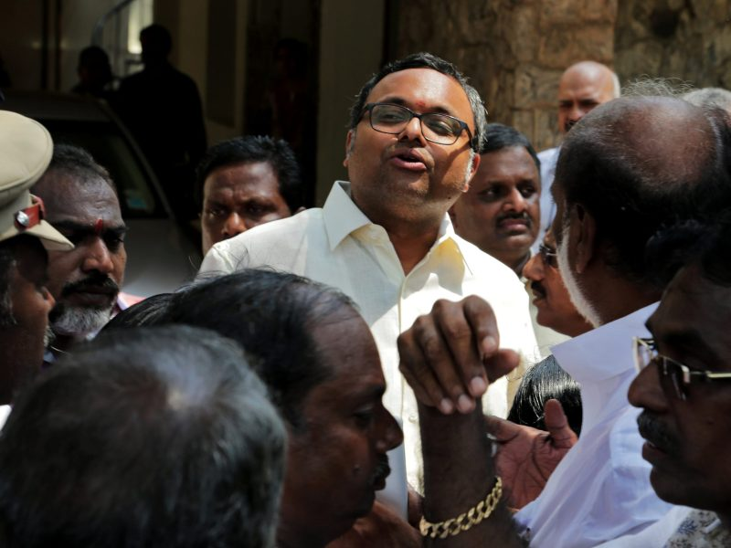 Karti Chidambaram, son of former Indian finance minister P. Chidambaram, talks to media after the Central Bureau of Investigation (CBI) raided his house, in Chennai, India, on May 16, 2017. Photo: Reuters