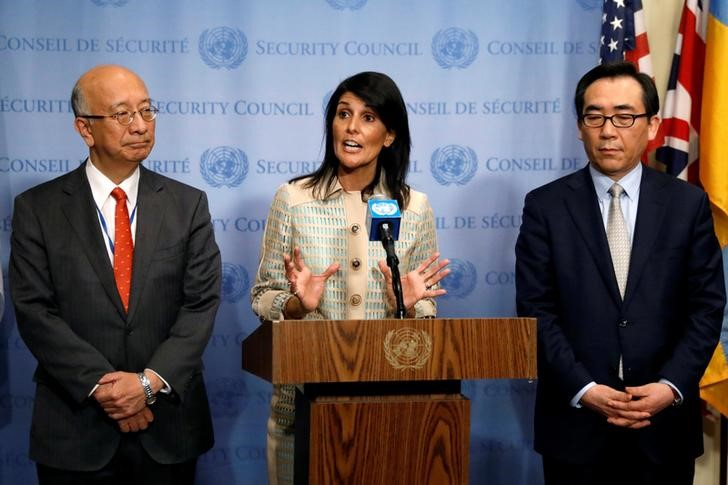 US Ambassador to the United Nations Nikki Haley with Japan's UN Ambassador Koro Bessho (L) and South Korea's UN Ambassador Cho Tae-yul (R) at a press briefing ahead of an emergency meeting of the UN Security Council in New York, US, May 16, 2017. REUTERS/Brendan McDermid