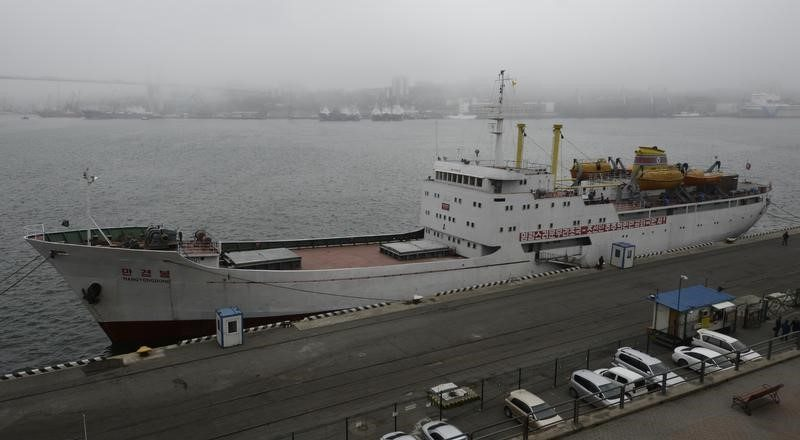 The North Korean ferry, the ManGyongBong, docked in the port of the far eastern city of Vladivostok, Russia, May 18, 2017. Reuters/Yuri Maltsev