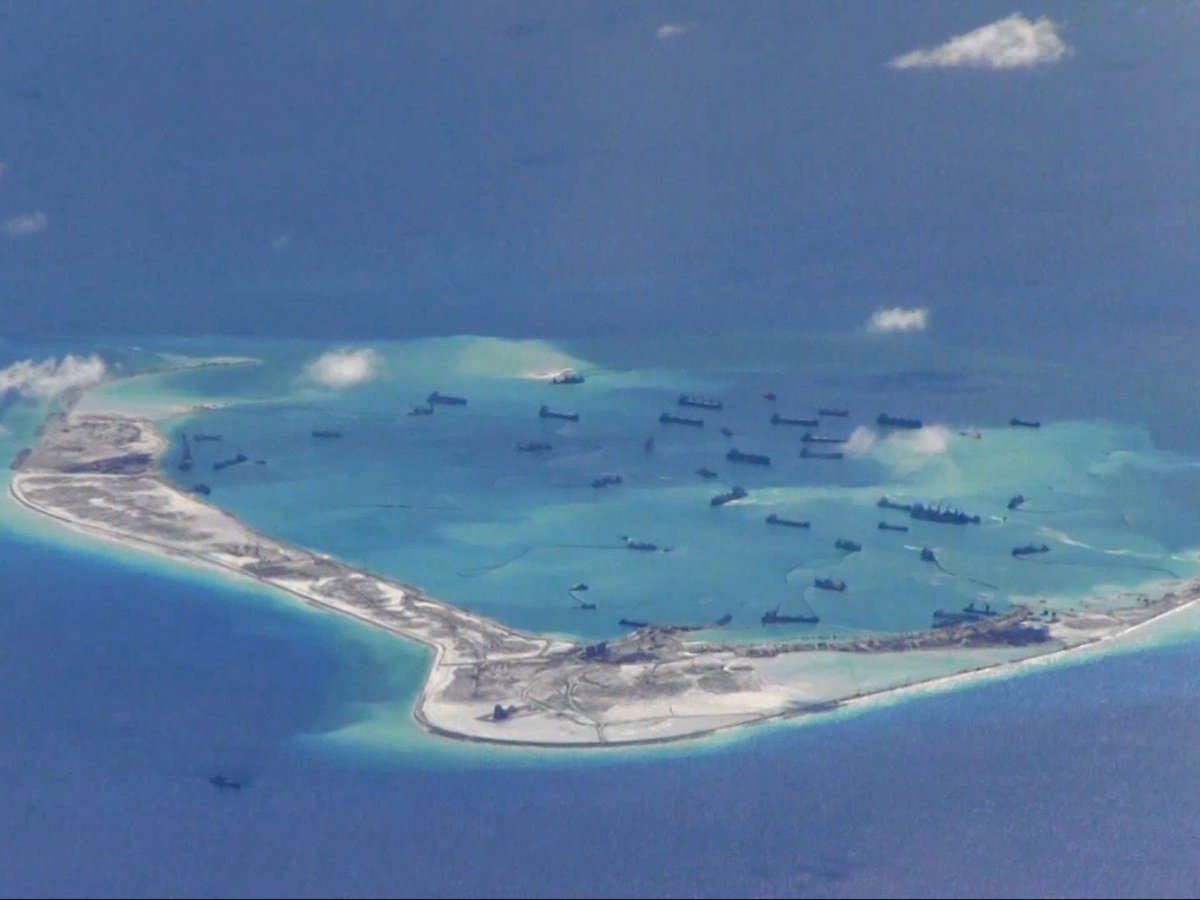 View of Spratly Islands. Photo: US Navy handout via Reuters