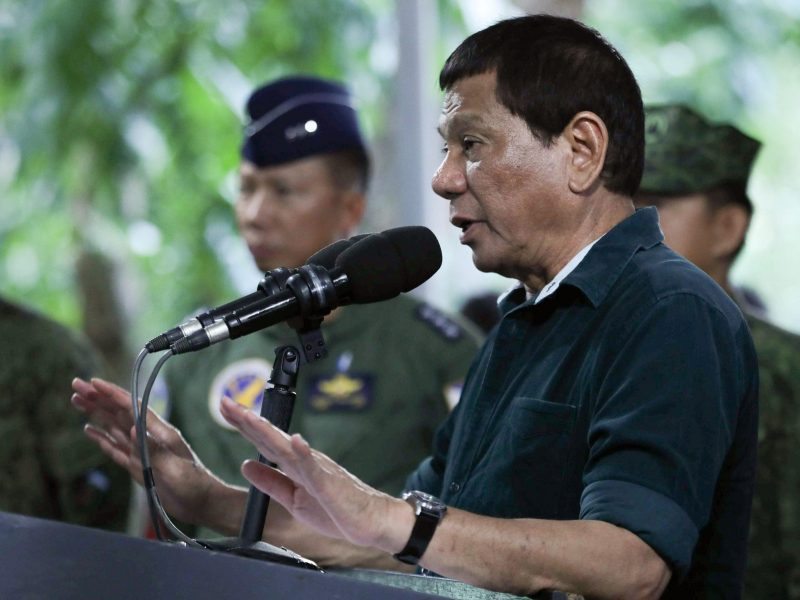 Philippine President Rodrigo Duterte speaks to soldiers during a visit at a military camp in Iligan City, Philippines, May 26, 2017. Photo: Philippines handout via Reuters.