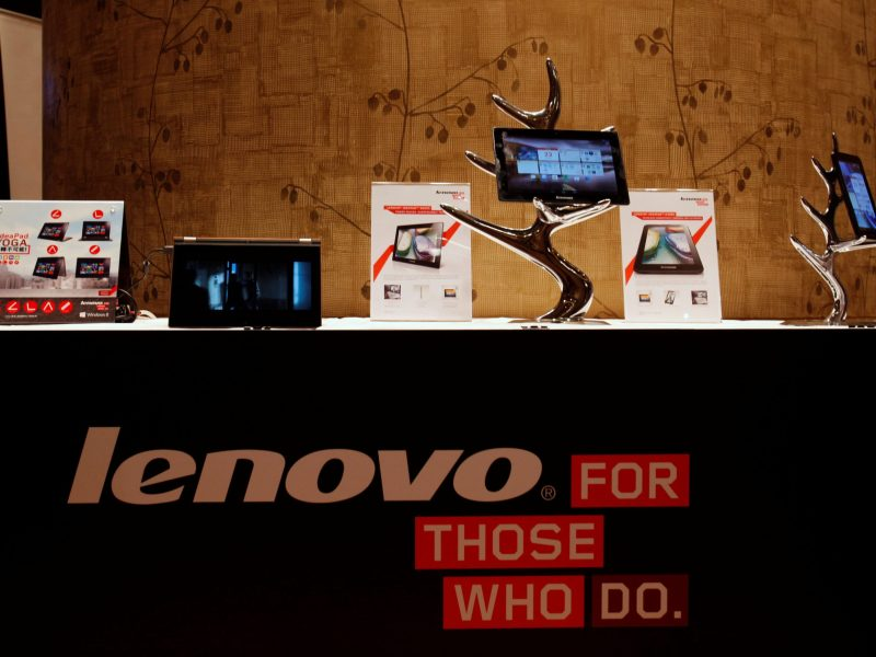 Lenovo tablets and mobile phones are on display at a news conference on the company's annual results in Hong Kong. Photo: Reuters/Bobby Yip
