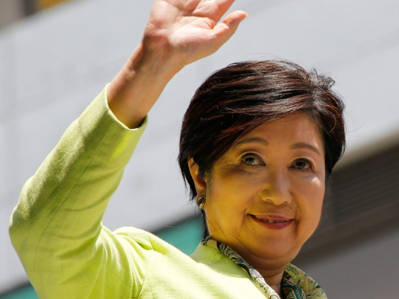Tokyo Governor Yuriko Koike waves at a speech for candidates from her Tokyo Citizens First party ahead of a metropolitan assembly election in Tokyo, Japan May 28, 2017. Reuters/Kim Kyung-Hoon