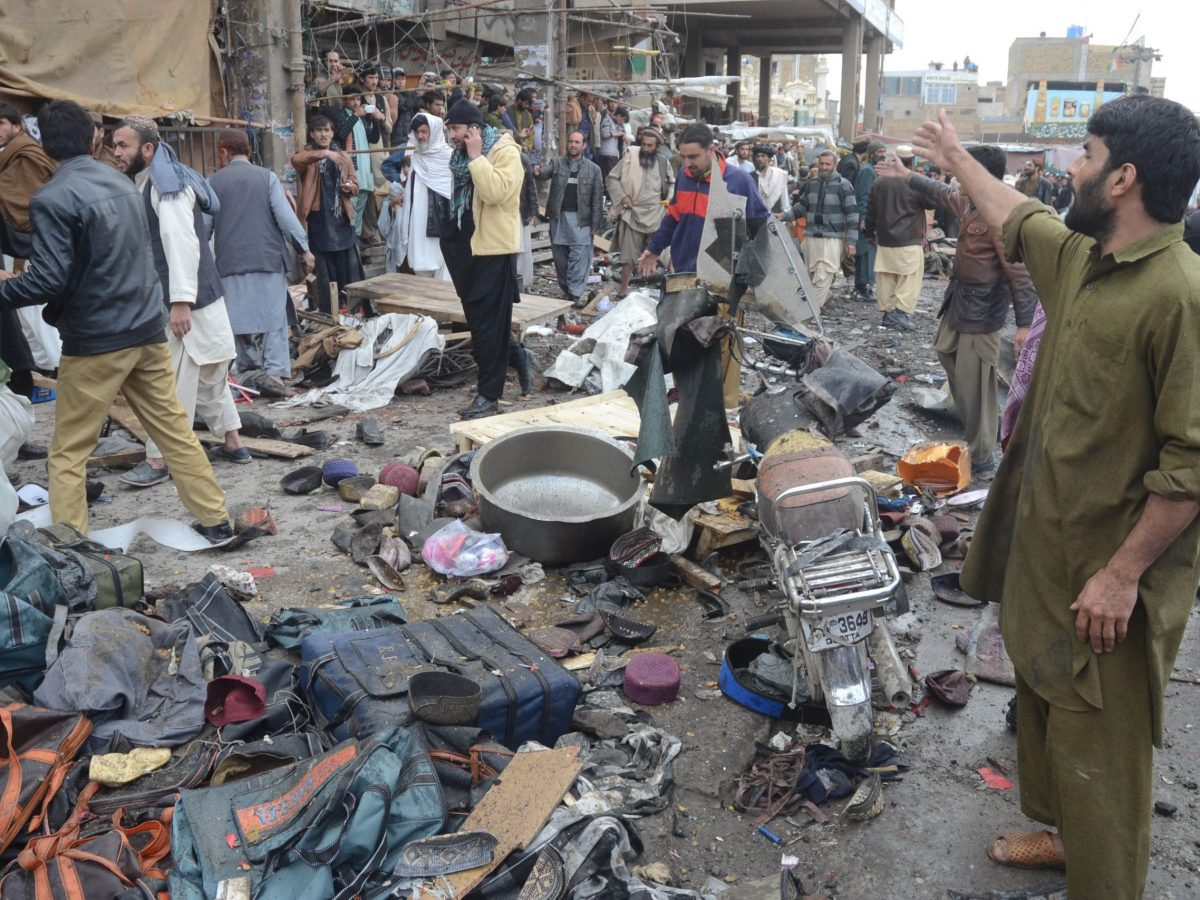 A blast at Bacha Khan Chowk on Jan 10, 2013, resulted in the death of 12 and injured 50. Photo:  Watan Pal