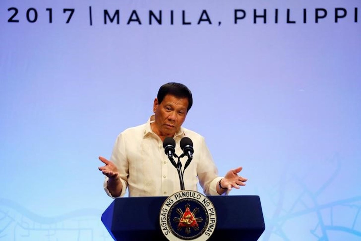 Philippine President Rodrigo Duterte speaks during a news conference after concluding the 30th Asean Summit in Manila on April 29, 2017.  Photo: Reuters/Erik De Castro