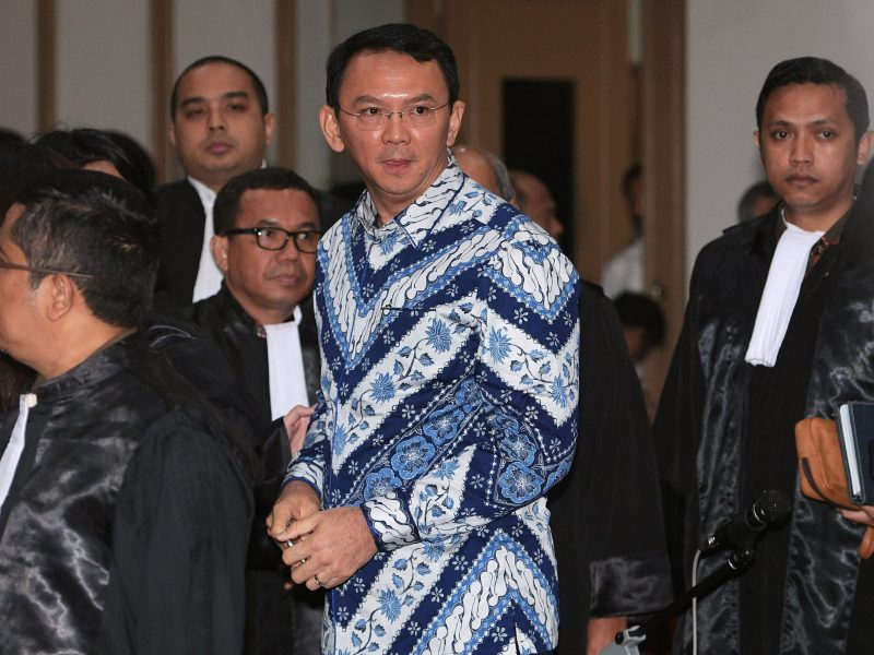 Jakarta's former Governor Basuki Tjahaja Purnama is seen inside a court during his trial for blasphemy in Jakarta. Antara Foto, Sigid Kurniawan, via Reuters