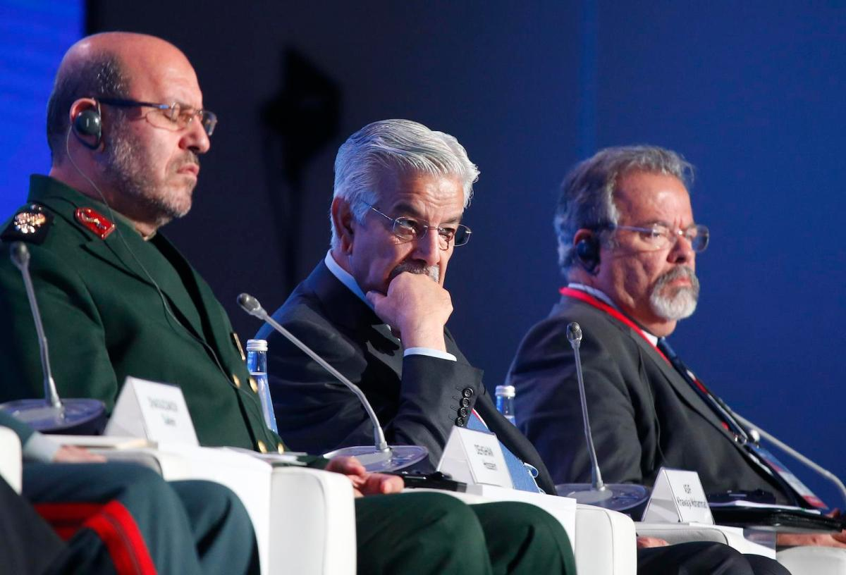 From left: Defense Ministers Hossein Dehghan of Iran, Khawaja Asif of Pakistan and Raul Jungmann of Brazil attend the annual Moscow Conference on International Security on April 26, 2017. Photo: Reuters