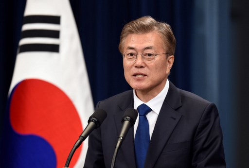South Korea President Moon Jae-In speaks during a press conference at the presidential Blue House in Seoul. Photo: AFP/Jung Yeon-Je