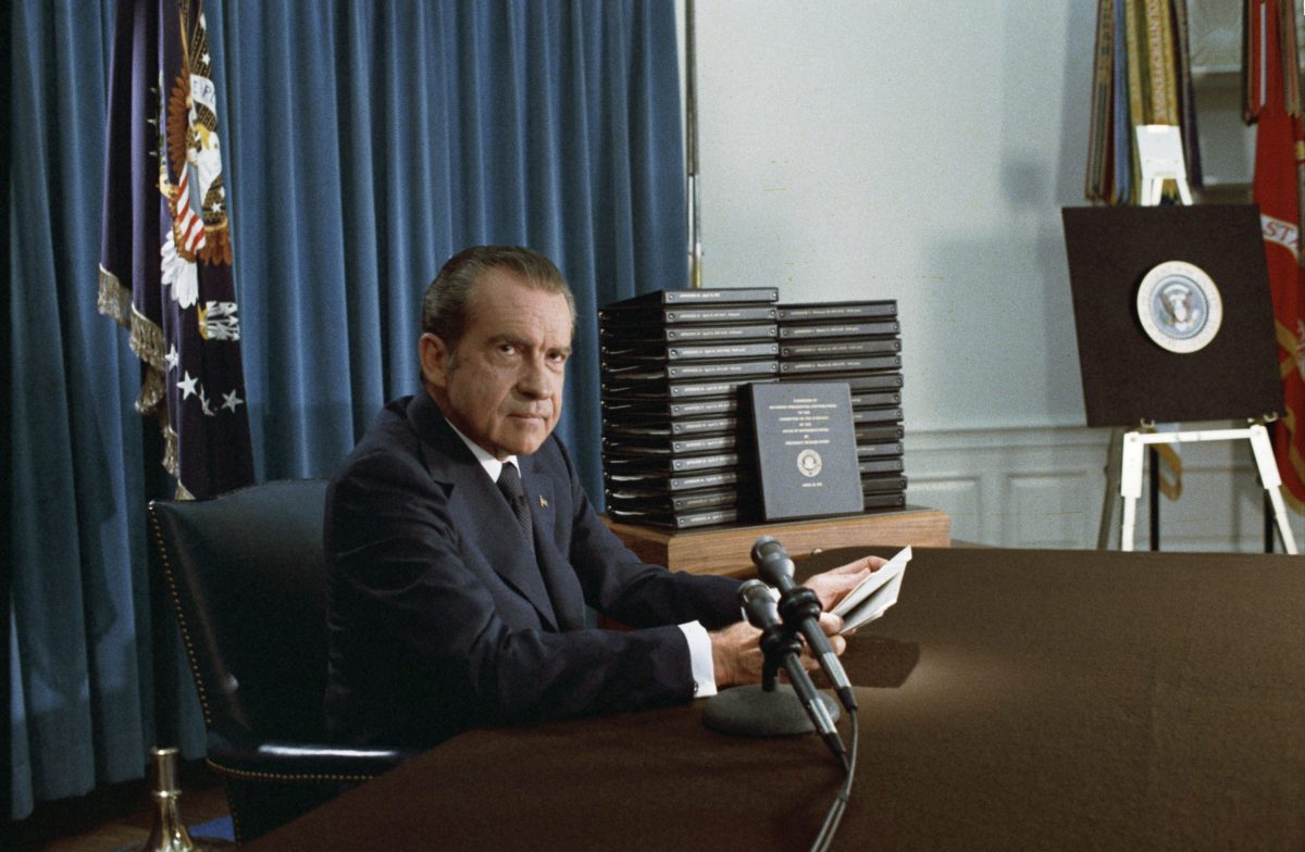 President Nixon with his edited transcripts of the White House Tapes subpoenaed by the Special Prosecutor, during his speech to the Nation on Watergate. Photo: Wikimedia Commons