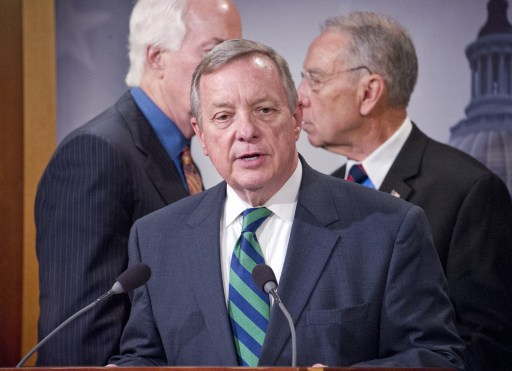 US Senator Richard Durbin makes remarks during a press conference. Photo AFP Credit: Ron Sachs