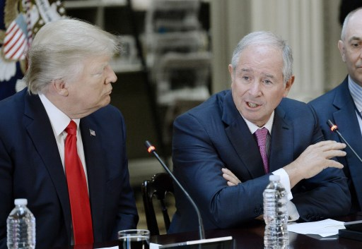 Stephen Schwarzman, CEO and Co-Founder of Blackstone speaks during a strategic and policy discussion with CEOs in Washington, DC. Photo: Pool via CNP, Olivier Douliery