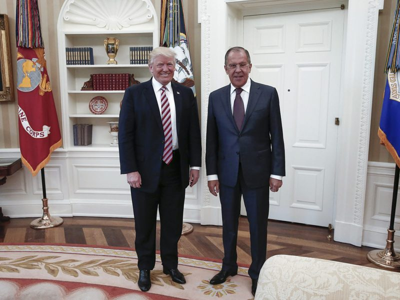 US President Donald Trump poses with Russian Foreign Minister Sergei Lavrov at the White House on May 10th, 2017. Lavrov is the highest-ranking Russian official to visit Washington since Trump came to power in January. Photo: Agence France-Presse / Russian Foreign Ministry
