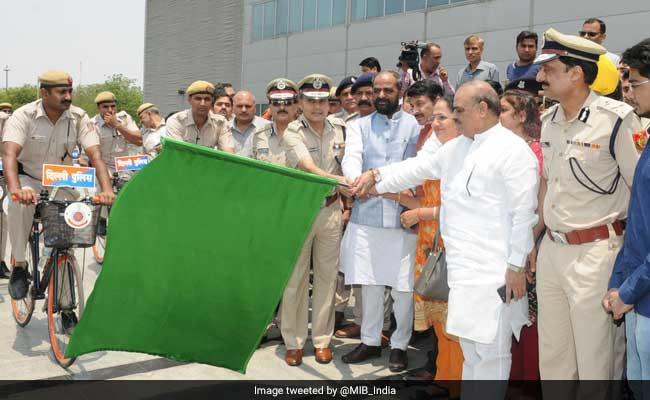 Union Minister Hansraj Ahir flags off 65 police bicycles on Tuesday in Delhi. photo: NDTV