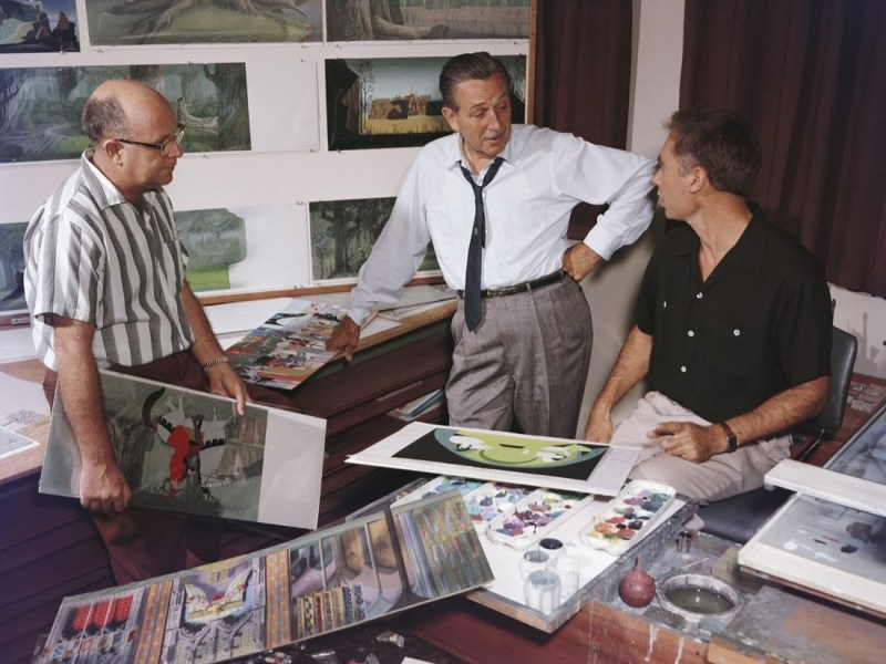Layout artist McLaren Stewart, Walt Disney, and Eyvind Earle at The Walt Disney Studios during production for Sleeping Beauty, c. 1959. Photo: Eyvind Earle Publishing