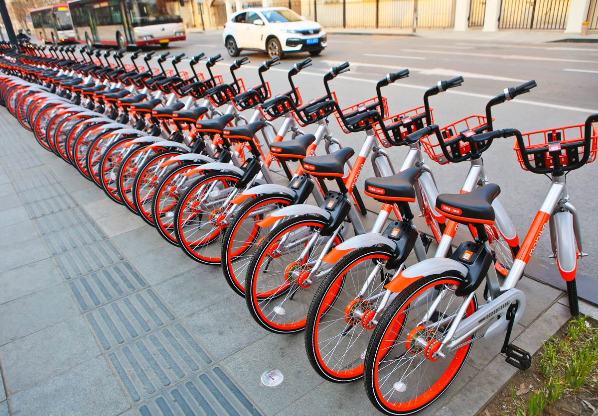 Mobike bicycles in Tianjin, China, in March 2017. Photo: iStock
