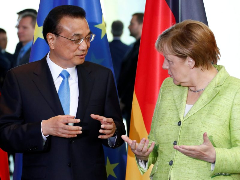New partners? German Chancellor Angela Merkel and Chinese Premier Li Keqiang. Photo:  Reuters/Fabrizio Bensch