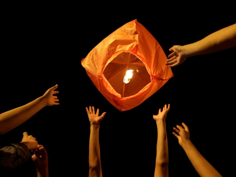 Lucky light: Wishing for success, students release a sky lantern. Photo: Reuters/Jason Lee