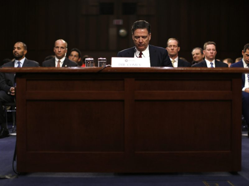 Former FBI Director James Comey pauses as he testifies before a Senate Intelligence Committee hearing on Russia's alleged interference in the 2016 US presidential election. Photo: Reuters/Jonathan Ernst