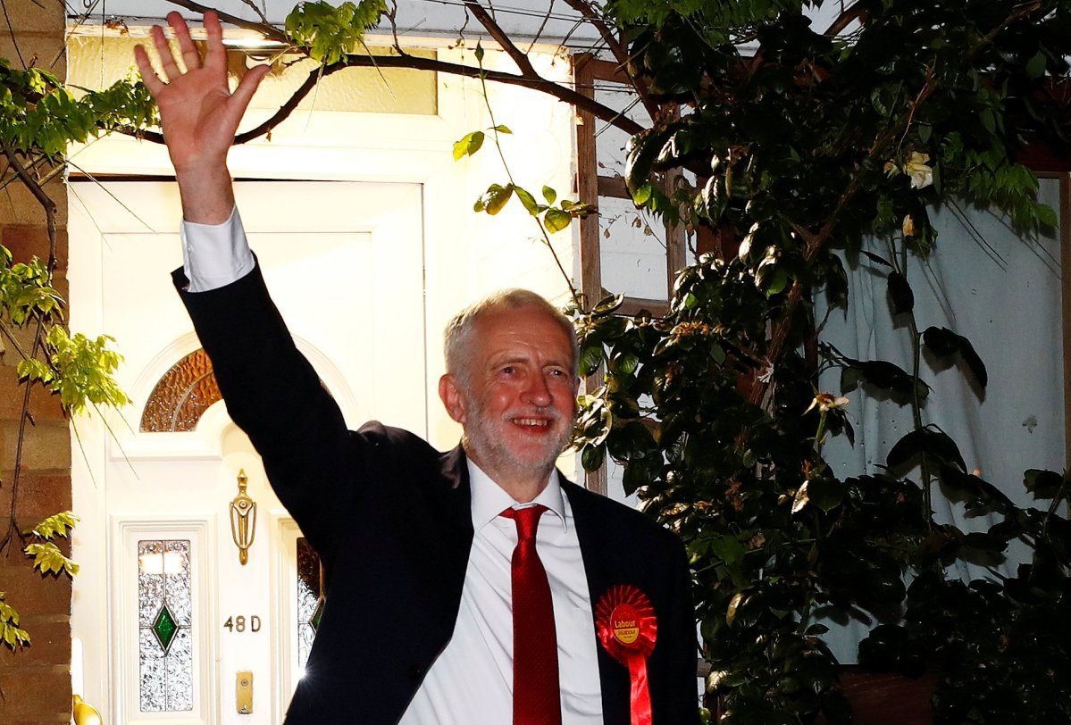 Jeremy Corbyn, leader of the Labour Party, waves as he leaves his home to attend the count for his seat in Britain's general election, in London, on June 9, 2017. REUTERS/Eddie Keogh