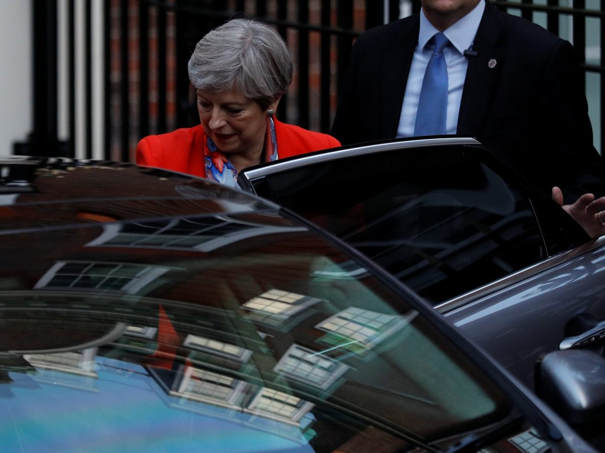 Theresa May leaves  Conservative party headquarters on June 9, 2017. Photo: Reuters / Peter Nicholls