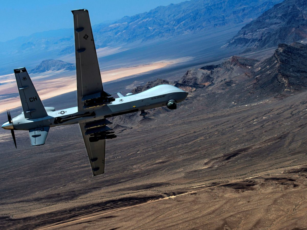An MQ-9 Reaper remotely piloted drone aircraft performs aerial maneuvers over Creech Air Force Base, Nevada. Photo: US Air Force handout via Reuters