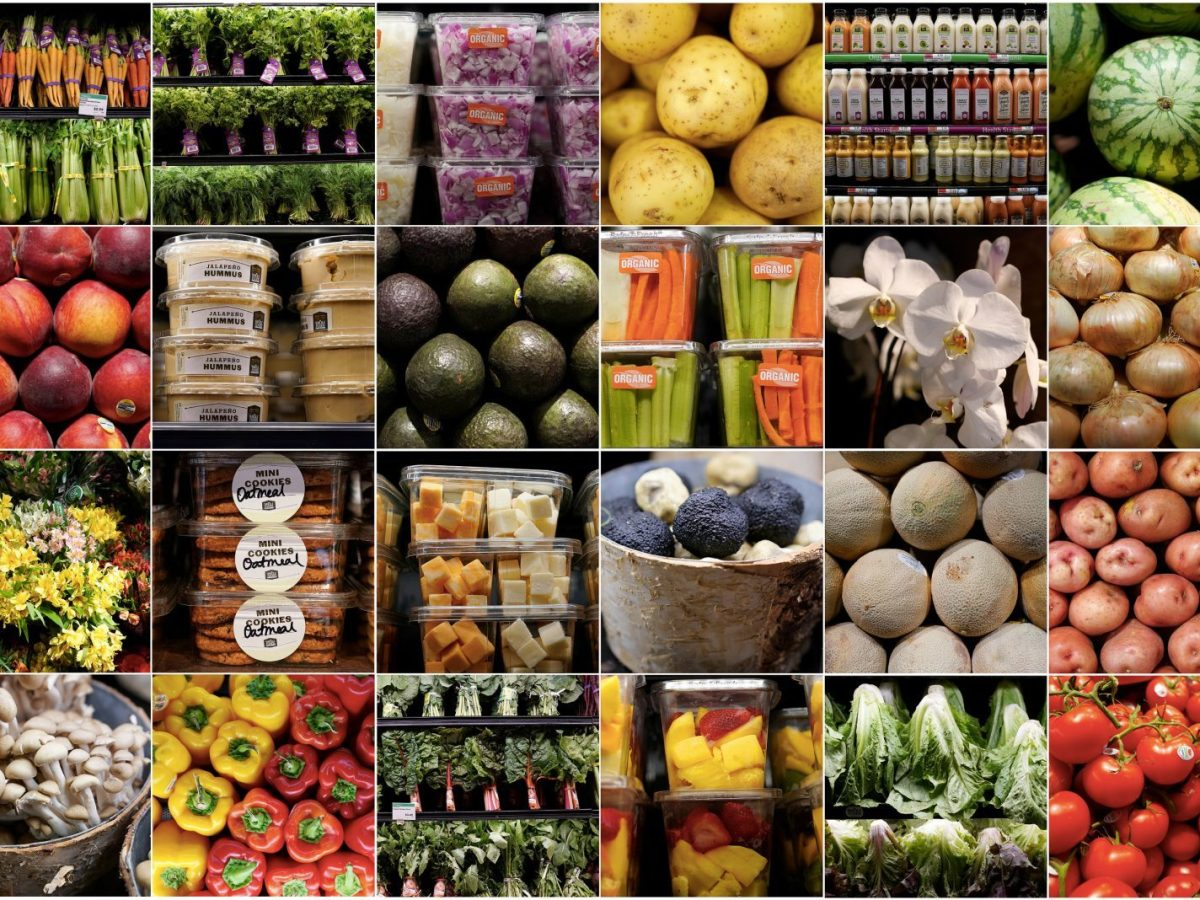 A combination photo shows food and plants for sale inside a Whole Foods Market in Manhattan. Photo: Reuters/Carlo Allegri