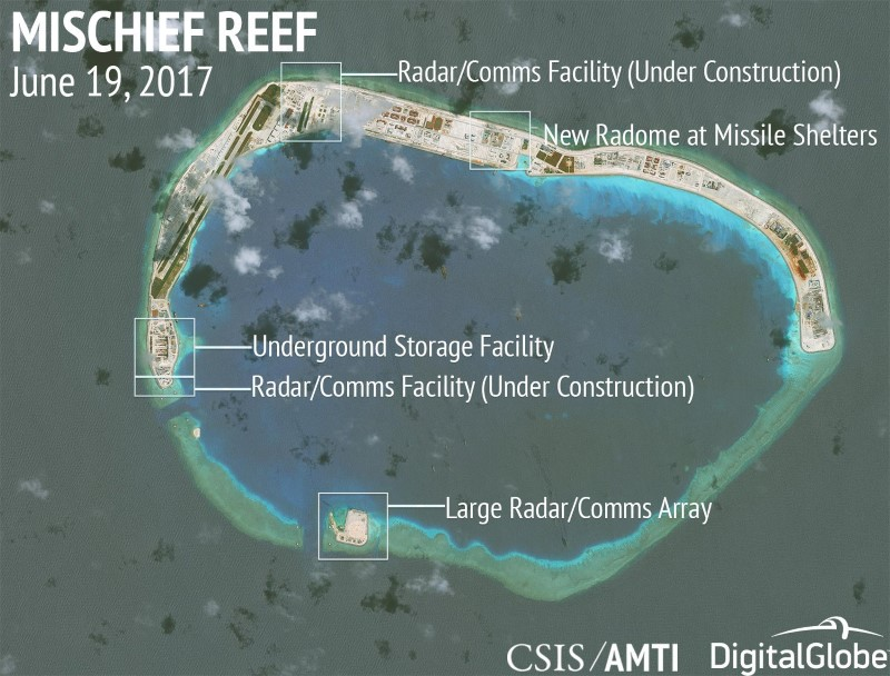Construction is shown on Mischief Reef in the disputed South China Sea in this June 19, 2017 satellite image released by CSIS Asia Maritime Transparency Initiative at the Center for Strategic and International Studies. Photo: CSIS/AMTI Digital Globe/handout via Reuters