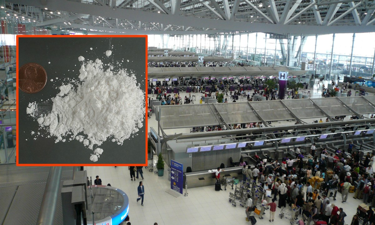 Bangkok's Suvarnabhumi International Airport, powder of cocaine. Photos: Wikimedia Commons