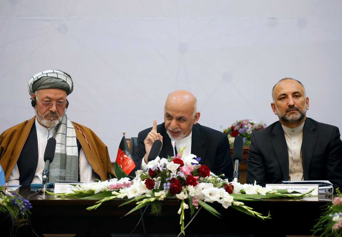 Afghan President Ashraf Ghani, center, attends a peace and security cooperation conference in Kabul on June 6, 2017. Photo: Reuters/Omar Sobhani