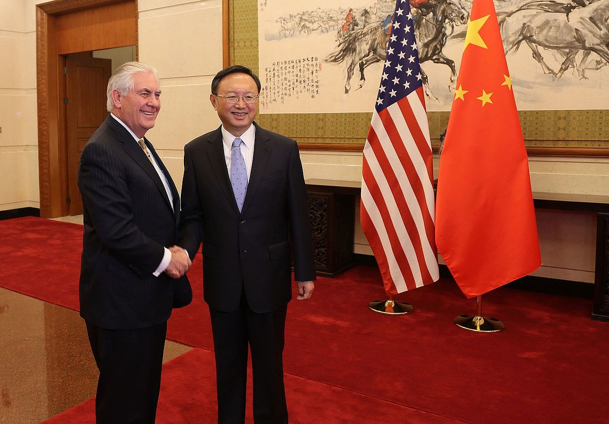 Secretary of State Rex Tillerson meets with China's State Councilor Yang Jiechi in March.
