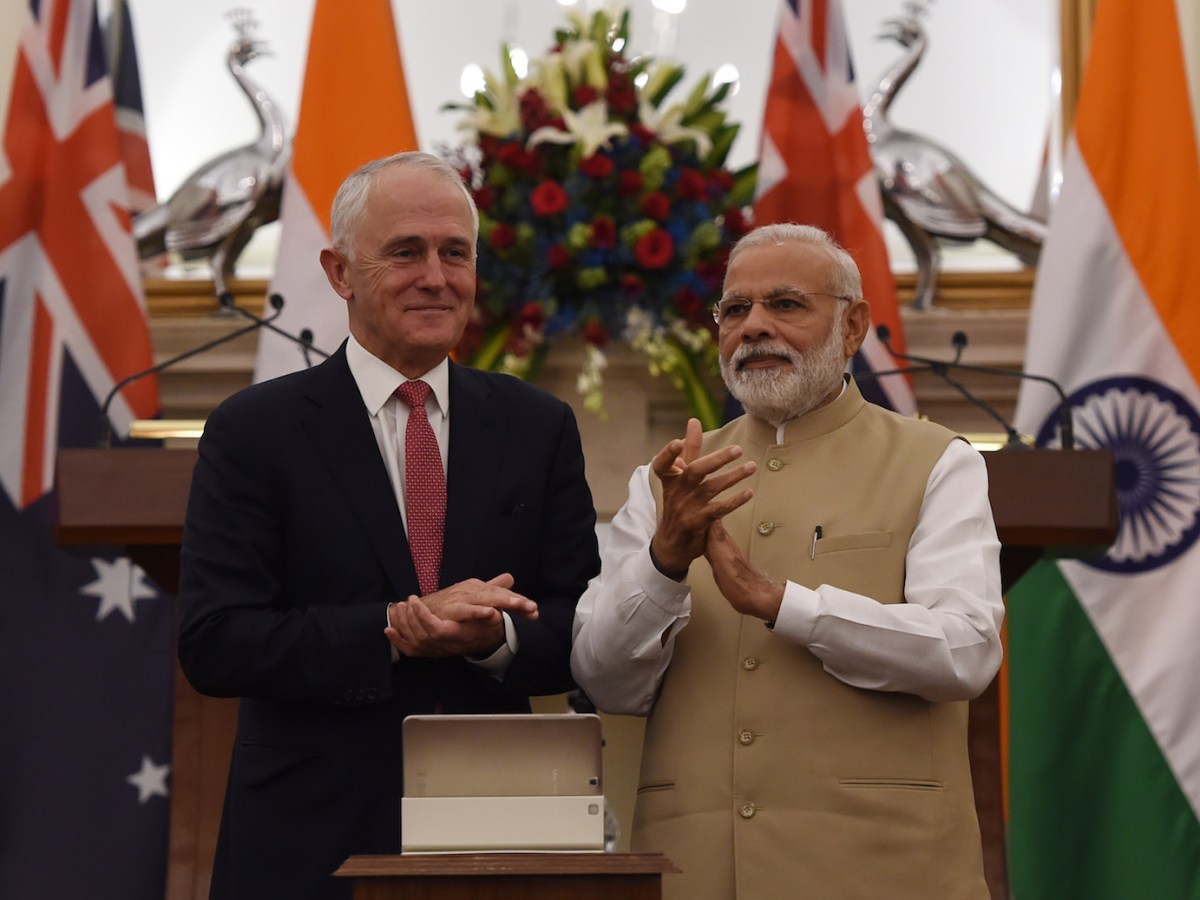 Indian Prime Minister Narendra Modi appears in New Delhi with Australian Prime Minister Malcolm Turnbull on April 10, 2017. Turnbull visited India from April 9 to April 12. Photo: AFP / Money Sharma