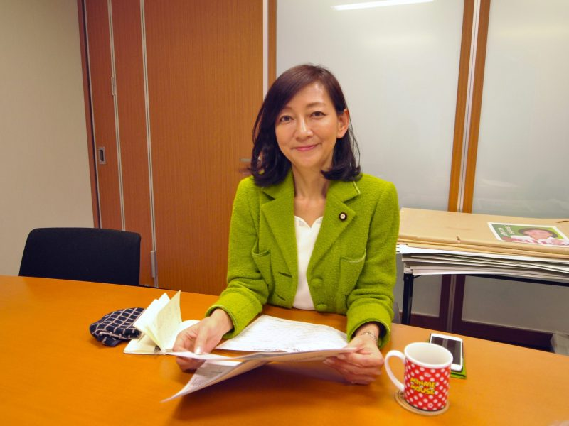 "Hiroe Makiyama, a member of Japan's upper house, in her Tokyo office. She was one of the proponents of a recent bill regulating adoption agencies and is calling for better, nationally connected ""matchmaking"" services. Photo by Daniel Hurst"