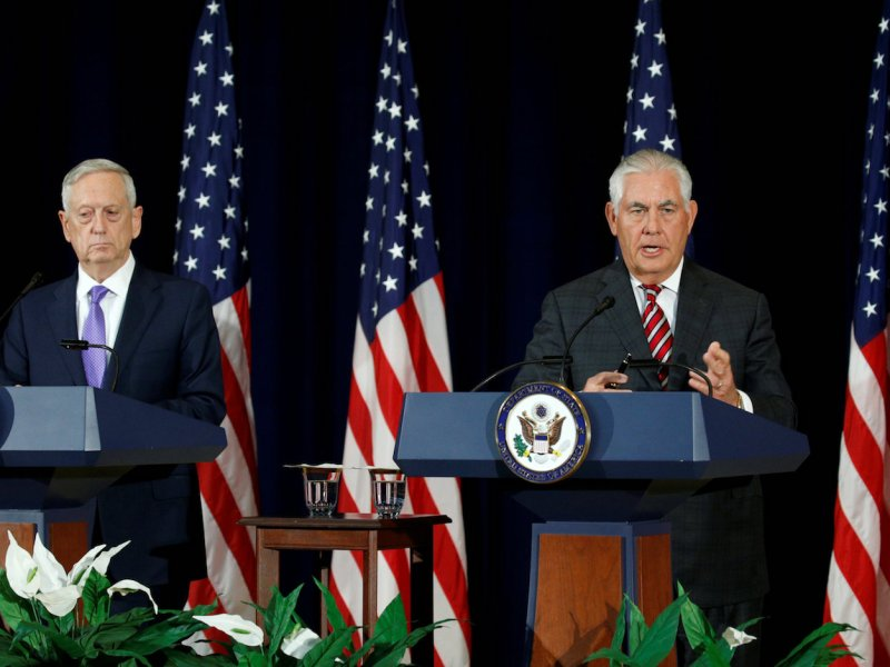US Secretary of State Rex Tillerson (right) and Secretary of Defense James Mattis hold a press conference after talks with Chinese diplomatic and defense chiefs at the State Department in Washington on June 21, 2017. Photo: Reuters/Kevin Lamarque
