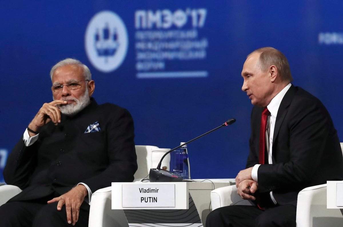Russian President Vladimir Putin and Indian Prime Minister Narendra Modi attend a session of the St Petersburg International Economic Forum on June 2, 2017. Photo: Reuters/Stanislav Krasilnikov/Tass/Host Photo Agency/Pool