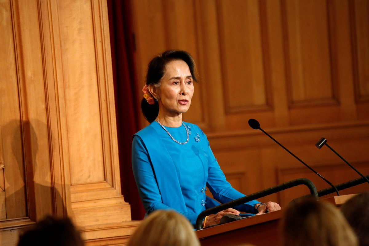 Myanmar's State Counsellor Aung San Suu Kyi gives a speech at the Swedish parliament in Stockholm, Sweden June 13, 2017. TT News Agency/Christine Olsson via Reuters