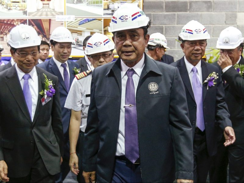 Thai Prime Minister General Prayut Chan-o-cha (center) observing a construction project in Bangkok in a 2015 file photo. Photo: Reuters/Athit Perawongmetha