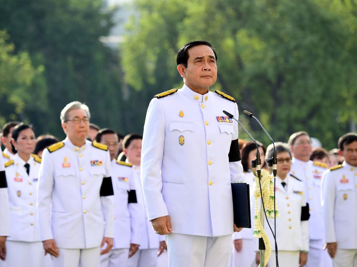 Thai Prime Minister Prayuth Chan-ocha presiding over a mass pledge of allegiance to the late Thai King Bhumibol Adulyadej during a ceremony at Government House in Bangkok. Photo: AFP/ Thai Royal Bureau