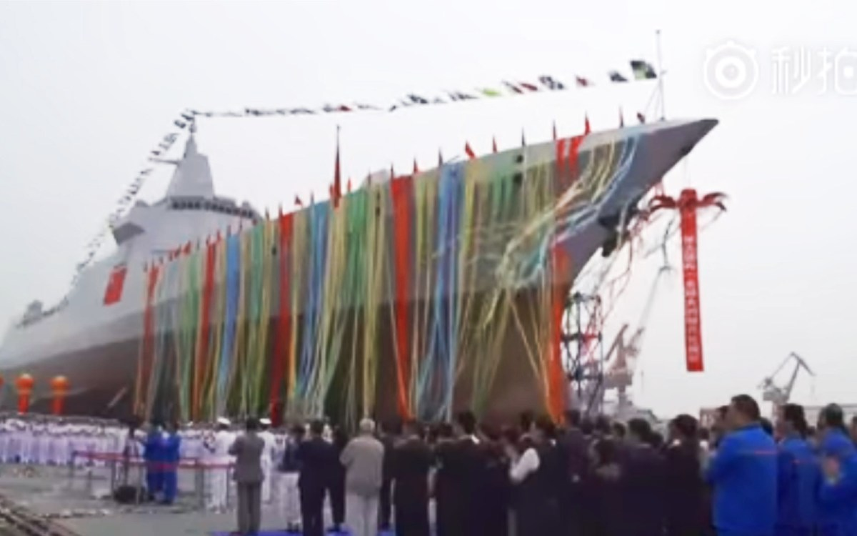 Screen grab of footage taken at launch of the first ship of the Type 055 class destroyer.