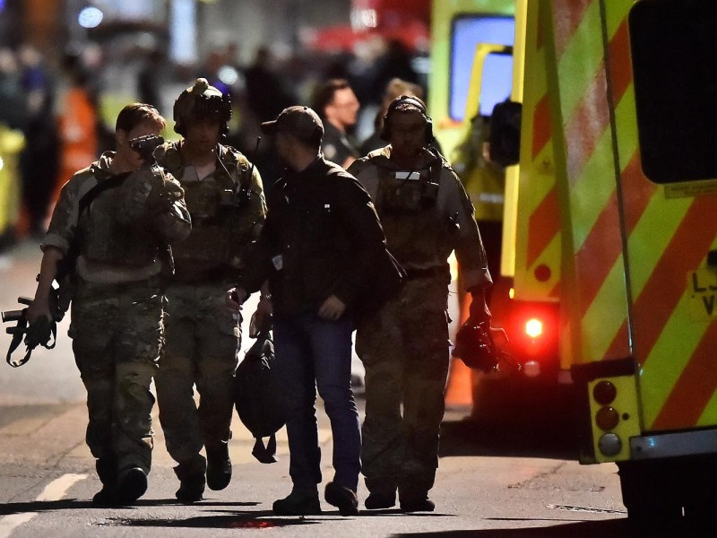 Armed officers on the London Bridge after the terrorist attack on June 4, 2017. Photo: Reuters