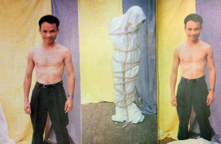 Truong Tan's catalogue for his first solo exhibition in 1994 documents his tentative exploration of performance art and frequent use of ropes. Photo: Truong Tan used with permission, CC BY-NC