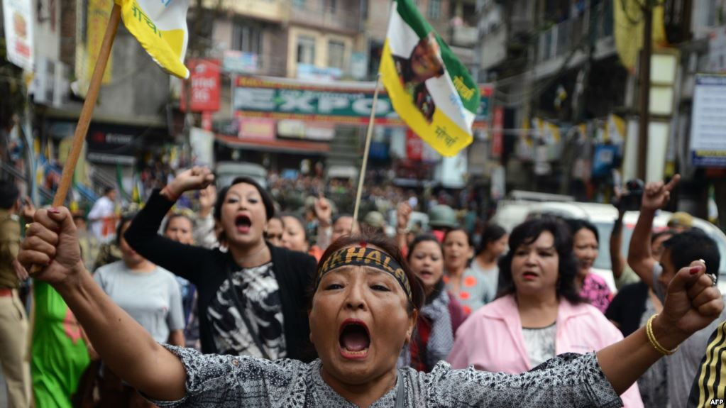 Supporters of the Gorkha Peoples Liberation Front take part in a rally. Photo AFP