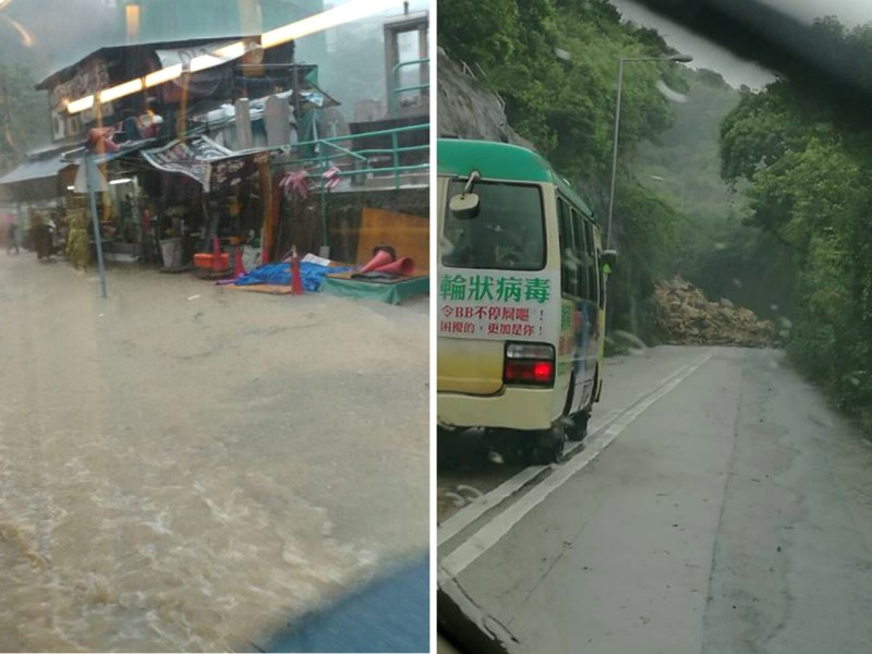 Flooding was reported in many districts in Hong Kong, including Pok Fu Lam (left). A landslide blocked Tai Tam Road (right). Photo: Howard Lung, Henry Law