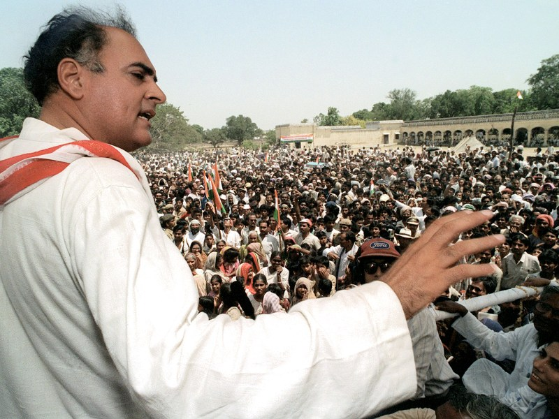 The late Indian premier Rajiv Gandhi addresses a crowd in Uttar Pradesh during an election campaign rally in 1991, days before his assassination by a Sri Lankan Tamil separatist guerrilla leader. Photo: AFP