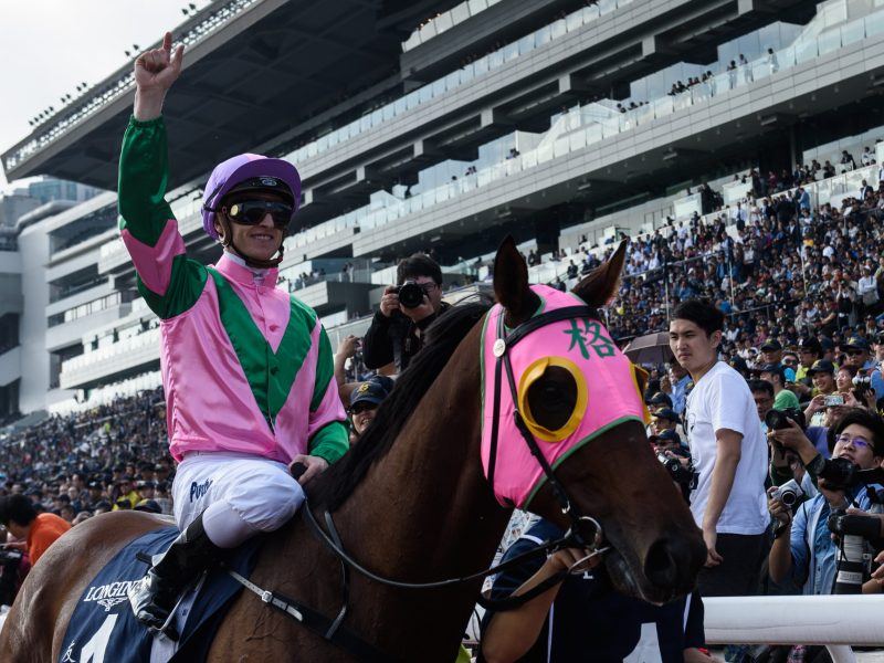 Zac Purton reacts after winning December 2016's Longines Hong Kong Sprint Group One race on Aerovelocity. Photo: AFP / Anthony Wallace
