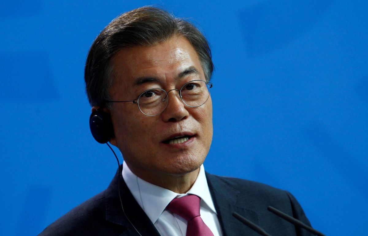 South Korean President Moon Jae-in attends a news conference in Berlin. Reuters/Michele Tantussi