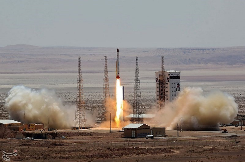 A rocket is tested at the Imam Khomeini Space Centre, Iran, in this handout photo released by on July 27, 2017. Photo: Tasnim News Agency via Reuters