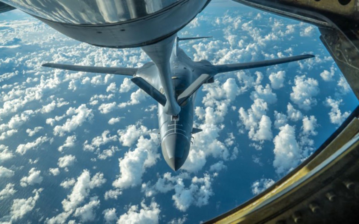 One of two US Air Force B-1B bombers receives fuel while flying from Guam, into Japanese airspace and over the Korean Peninsula, July 30, 2017.  Photo: US Air Force photo/via Reuters