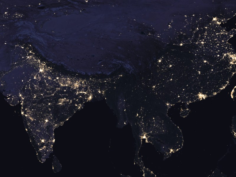 A recent map from NASA's Earth's City Lights project shows India shining brighter than China. Source: NASA