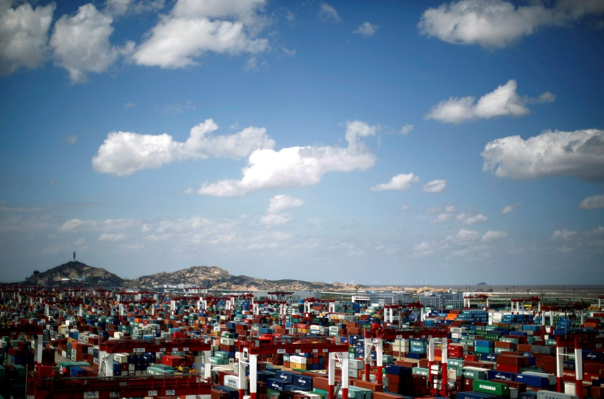 Shipping containers at the Yangshan Deep Water Port, part of the Shanghai Free Trade Zone. Photo: Reuters/Carlos Barria